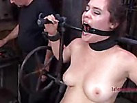 Attractive slave girl Charlotte Vale gets her juicy tits and totally smooth pussy tortured