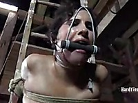 Naked slave brunette Marina with rope between her pussy lips gets her big ass caned