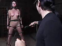 Completely naked small titty slave girl Lilla Katt stands still in front of her master