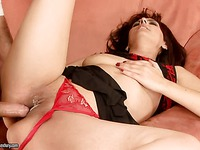 Gina Red gets her thirsty aged pussy slammed with her tiny red panties on