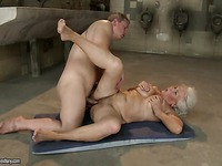 Aged wrinkled woman Norma with hairy snatch gets fucked in many positions