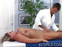 Fat big titted woman Dolly enjoys massage totally naked with her face down