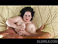 Plump dark haired woman Glory Foxxx gets her huge boobs fucked from 1st person perspective