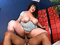 Black haired asian chubby lady Kelly Shibari rides hard dick with her blouse on