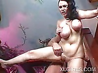 BBW brunette with natural DD boobs gets her pussy stuffed after giving breast job