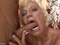 White haired granny Orhidea gets her hairy mature pussy banged and cummed on
