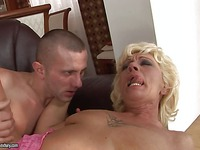 Aged hairy pussy whore Orhidea takes sturdy young dick in every hole possible