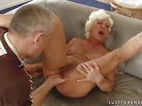 Blonde haired granny Orhidea with hairy twat takes throbbing dick in her asshole