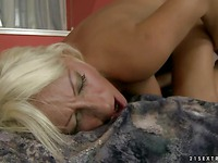 Good looking aged blonde Szandi with smooth pussy getting hardcore fucked