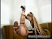 Tied up Harmony Rose in high heels gets her snatch vibrated by long haired femdom Chanta Rose