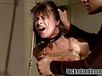 Dark haired helpless lady Cecilia Vega gets abused by horny hard dicked man