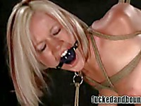 Big titted blonde Jasmine Jolie gets tied up and ball gagged before pussy fucking