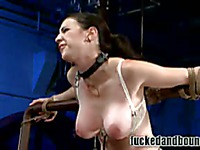 Brutal guy uses his stiff dick to punish and fuck big breasted slave brunette Natalie Minx