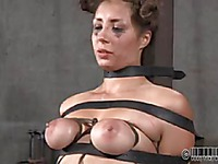 Naked slave brunette Sister Dee rides the sybian after getting whipped by mistress