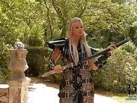 Ashley Bulgari looks more than fantastic in an uniform as she is posing.