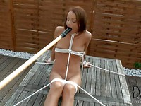 Tied up in this bondage video, Sophie Lynx is showing off her stunning body.