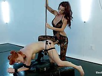Gia DiMarco ties up, fingers and bangs her fetish slave girl Audrey Hollander from behind