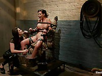 Bobbi Starr puts Phoenix Marie in bondage on a chair and then makes her cum