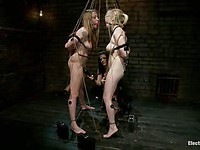 Lizzy London and Penny Pax tied up and gagged as their bondage domme Bobbi Starr plays with them