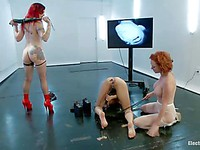 Audrey Hollander and Mz Berlin put Bianca Stone in bondage and plow her with bizarre toys