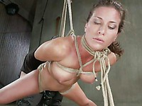 Ariel X gets tied up in bondage, hogtied and she also gets her fine titties tortured