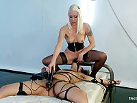 Cute chick Bianca Stone gets trampled in bondage by Lorelei Lee and has a strapon on her face
