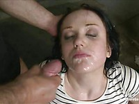 Brunette Alina Perry gets her wet pussy and red, tight asshole fucked hard by two throbbing cocks