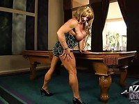 Blonde muscled slutty milf Kathy Connors shows off her big tits and muscles.