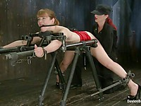 Sweet blonde Claire Robbins gets put on a fucking machine and used by her mistress Mz Berlin.