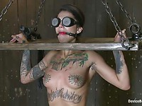 Tattooed Bonnie Rotten must to step on the needles while she is blindfolded and tied up.