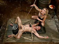 Wicked blonde milf Mona Wales ties up her male slave and sits on his face.