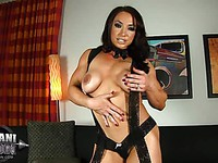 Brunette Brandi Mae Akers displays tense muscles and huge saggy tits and bum.