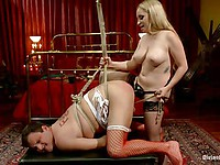 Cruel chick Aiden Starr dresses up her obedient bitch as a woman and humiliates him.