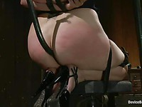 Nasty Mz Berlin checks out Bella Rossi's shaved pink moist pussy lips while she's tied up.