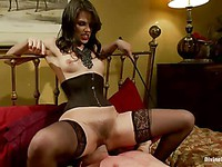 Wicked brunette Bobbi Starr pinches her hunk's skin and screws his ass until he cums.