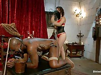 Bobbi Starr is a wicked bitch who likes tying up and spanking enlarged, throbbing black rods.