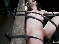 Slut Sarah Shevon enjoys being chained to the wall as her asshole is being fingered energetically.