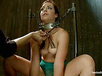 Chick Bryn Blayne must sit on a fucking machine while her mouth and neck are tied with chains.