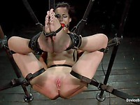 Bryn Blayne is gagged like a slut and her master fucks her wet cunt with a machine.