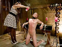 Busty Chanel Preston rubs her big rounded ass against a tied up stud with a hard cock.