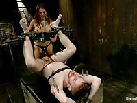 Busty slut Francesca Le teases her tied up slave with her huge melons and bites his nipples.