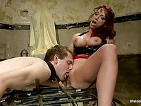 Ruthless domina Nikki Hunter with big boobs fucks her horny twinkie with a huge strapon.