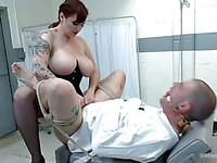 Horny Mz Berlin decides to gag and tie up her doctor and then to fuck him mercilessly.