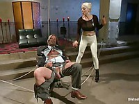 Blonde whore Lorelei Lee with big melons loves tying up and riding old bald men for fun.