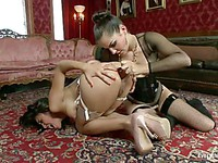 Chinese slut Jayden Lee gets her wet shaved asshole drilled hard by Bobbi Starr.