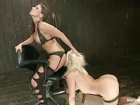 Cute blonde Anikka Albrite wearing fishnets gets her oily holes slammed hard by the horny Ariel X