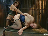 Blonde Sasha Swift is double drilled by a hard dick and Francesca Le's huge strapon.