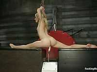 Bella Bends is a skinny blonde who loves having her moist cunt drilled with a huge long dildo.