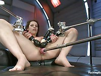 Sexy babe Nikita Bellucci lets a machine shove a dildo into her shaved tight butt hole.
