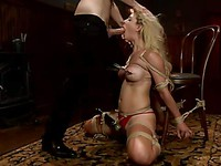 Maestro licks Cherie DeVille's shaved pussy eagerly and she sucks his fat shaft like a hungry slut.